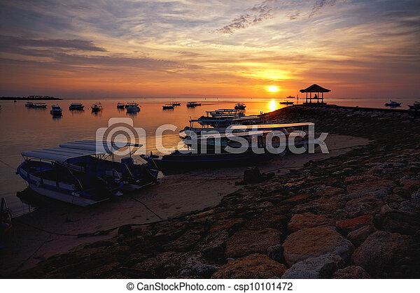 sunrise over fishing boats on Bali - csp10101472