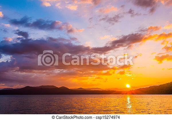 sunrise over lake - csp15274974