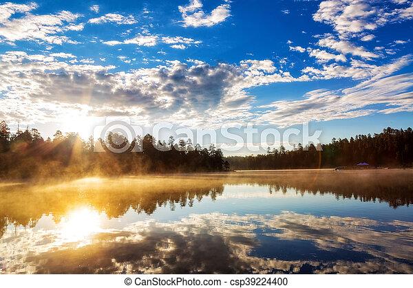 Sunrise Over Misty Lake in Payson Arizona - csp39224400