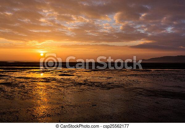 Sunrise over Mumbles mudflats - csp25562177