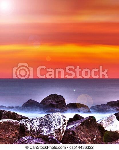 Sunrise over the Adriatic Sea, Italy. - csp14436322