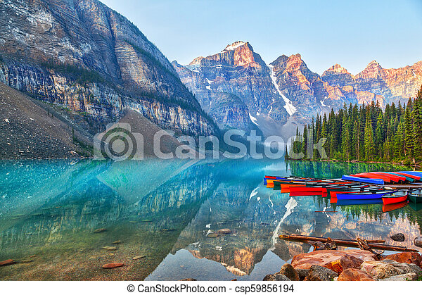 Sunrise Over the Canadian Rockies at Moraine Lake in Canada - csp59856194