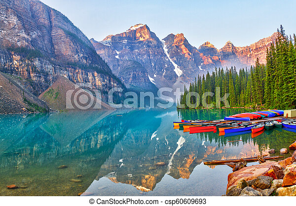Sunrise Over the Canadian Rockies at Moraine Lake in Canada - csp60609693