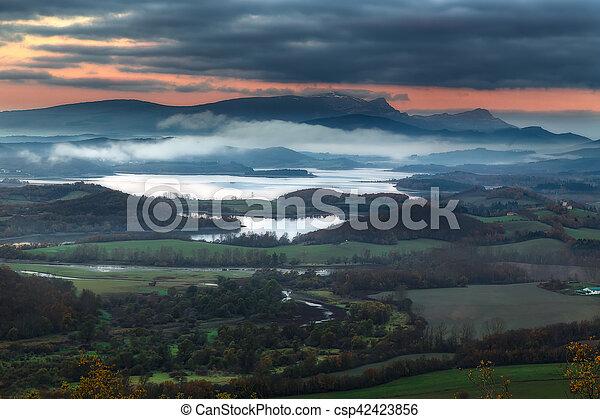 Sunrise over the Gorbea mountain - csp42423856