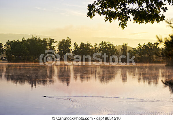 Sunrise over the lake with the reflection of bare trees in the water. - csp19851510