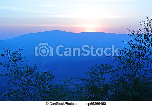 Sunrise over the mountain landscape, Morning - csp66366460