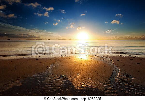 Sunrise sea beach sky landscape. Beautiful sun light reflection in ocean water nature background - csp16263225