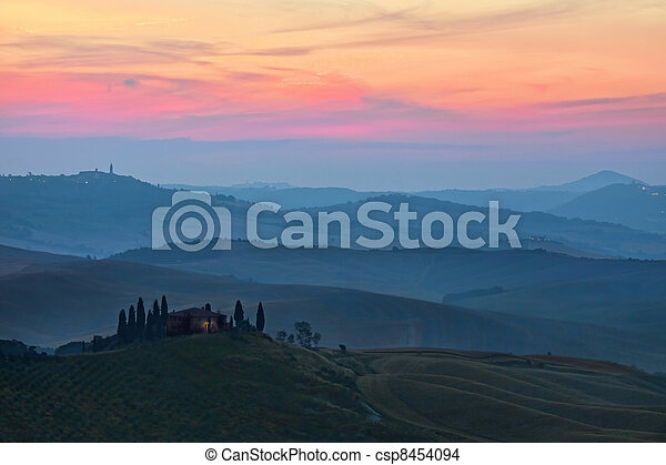 Sunrise Tuscany landscape   - csp8454094