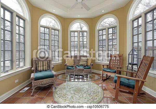 sunroom, däckar, cotta, terra - csp10506775
