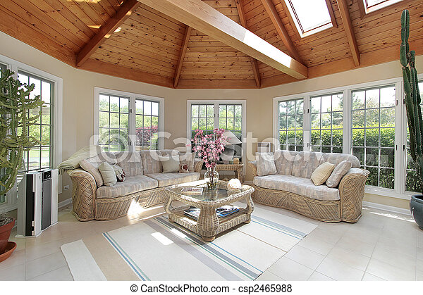 Sunroom in luxury home - csp2465988