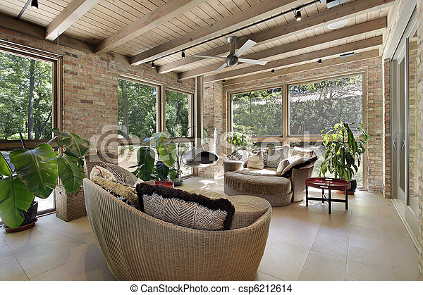 Stock Photo   Sunroom With Wicker Furniture