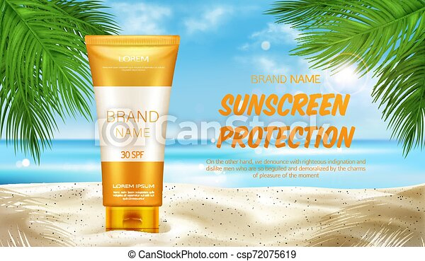Sunscreen Protection Cosmetic Mock Up Banner Summer Uv Block Cream Tubes Stand On Sand At Seascape Background With Palm