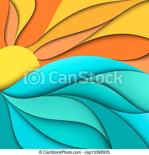 sunset., ים, sunrise., רקע, גלים - csp13368935