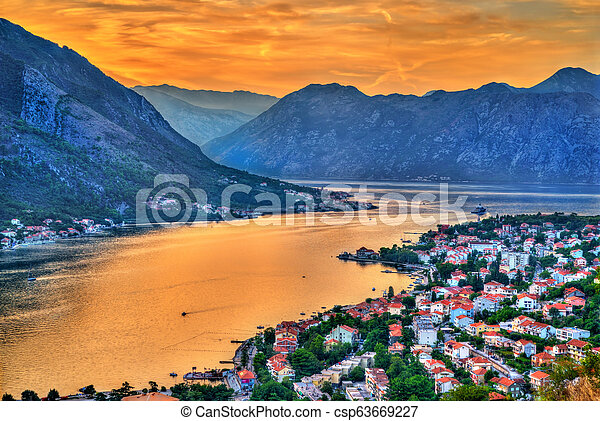 Sunset above the town and the Bay of Kotor in Montenegro - csp63669227