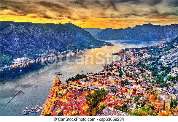 Sunset above the town and the Bay of Kotor in Montenegro - csp63669234