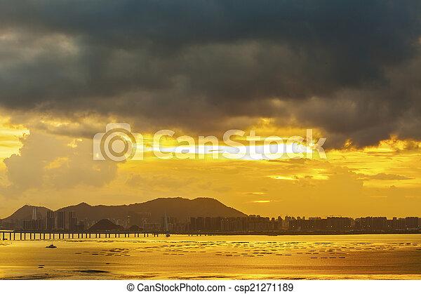Sunset along the bridge in Hong Kong - csp21271189