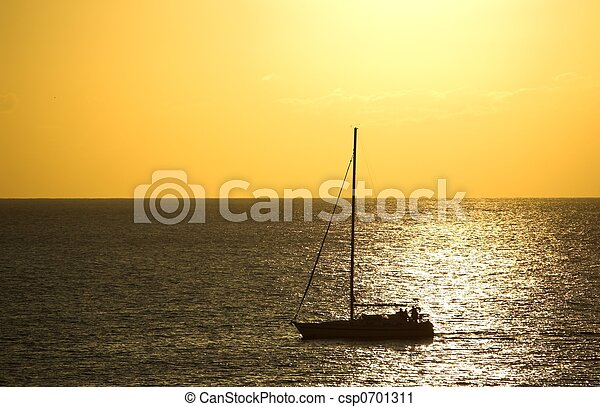 Sunset and a Boat - csp0701311