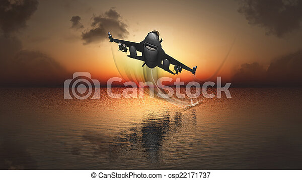 sunset and plane - csp22171737