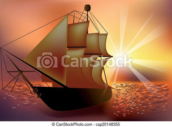 sunset and ship - csp20148355