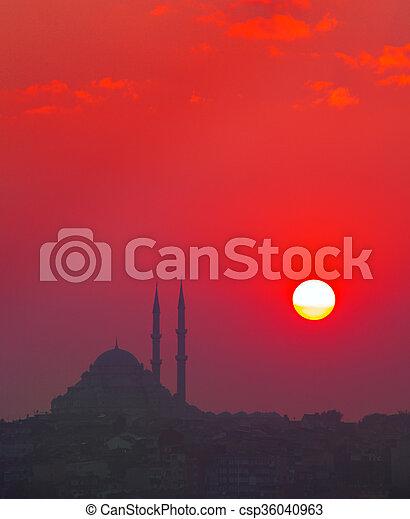 Sunset and Yavuz Selim mosque, Istanbul, Turkey - csp36040963