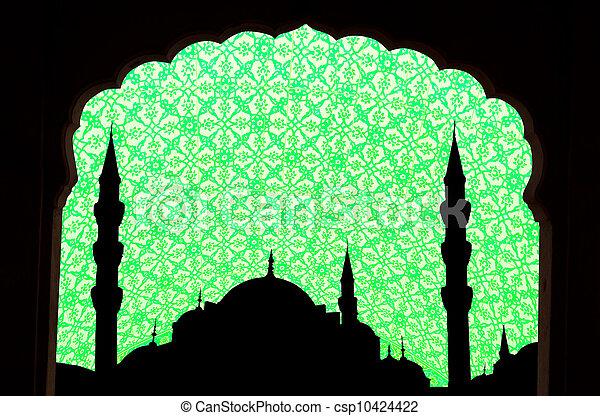 sunset at halga sophia blue mosque turkey - csp10424422