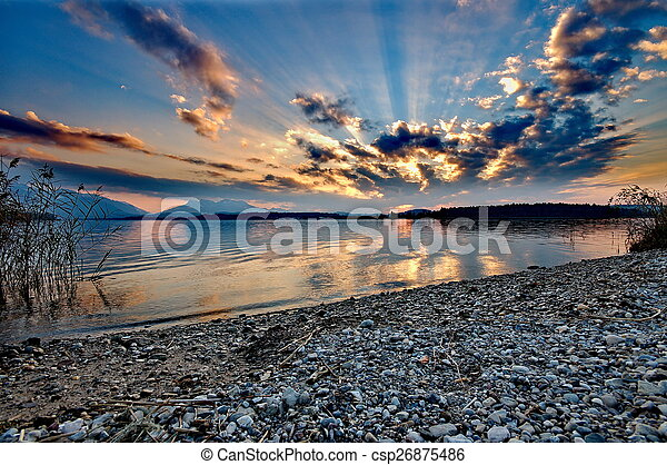 Sunset at lake Chiemsee in Germany - csp26875486