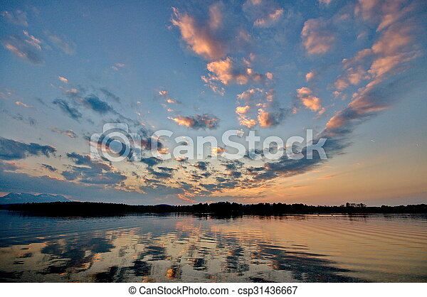 Sunset at lake Chiemsee in Germany - csp31436667