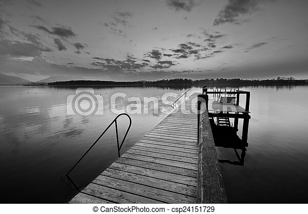 Sunset at lake Chiemsee in Germany - csp24151729