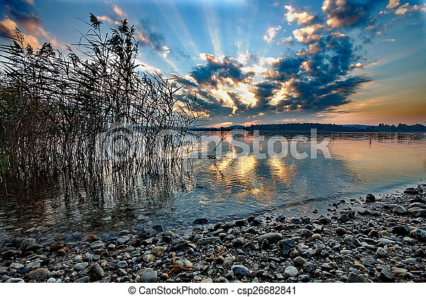 Sunset at lake Chiemsee in Germany - csp26682841