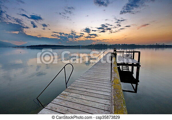 Sunset at lake Chiemsee in Germany - csp35873829