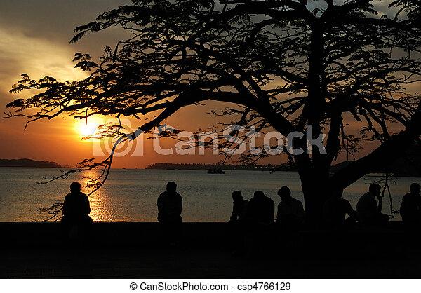 Sunset at Marine drive street,Cochi,Kerala,India - csp4766129