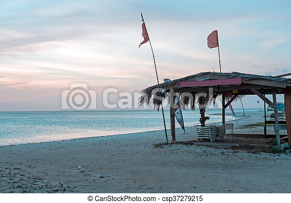 Sunset at Palm Beach on Aruba island in the Caribbean - csp37279215