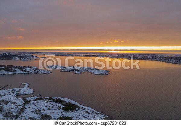 Sunset at Sillvik in Gothenburg - csp67201823
