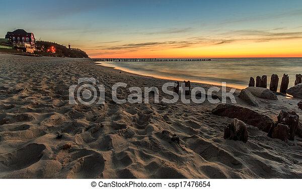 Sunset at the beach in Niechorze - csp17476654