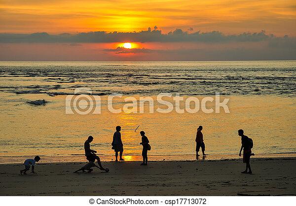 sunset at the beach - csp17713072