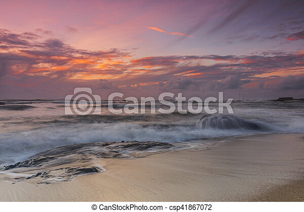 sunset at the beach - csp41867072