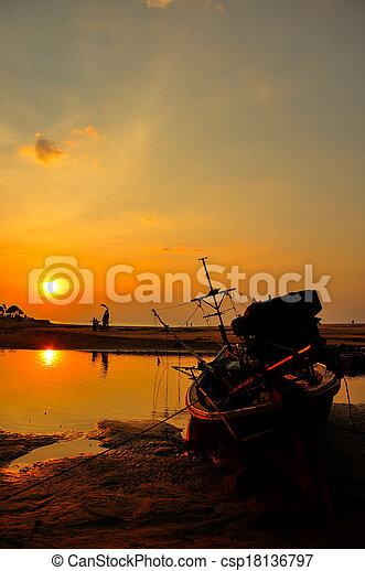 sunset at the beach - csp18136797
