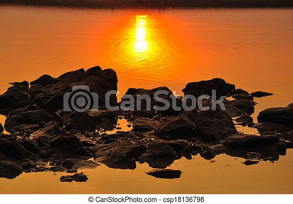 sunset at the beach - csp18136798