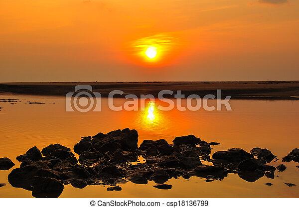 sunset at the beach - csp18136799