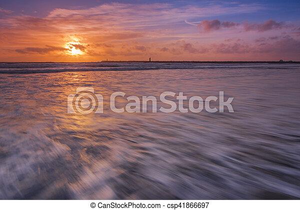 sunset at the beach - csp41866697