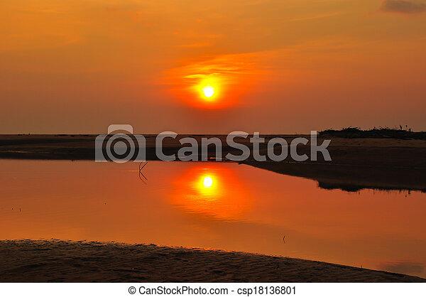 sunset at the beach - csp18136801