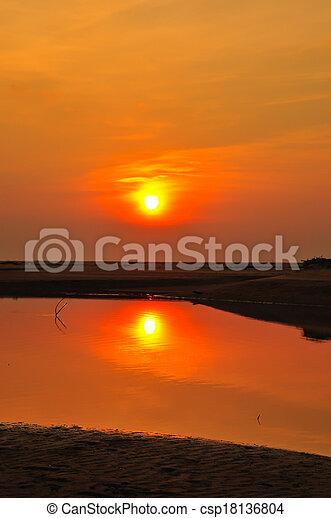 sunset at the beach - csp18136804
