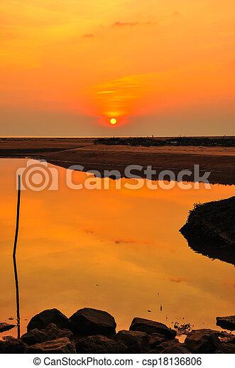 sunset at the beach - csp18136806