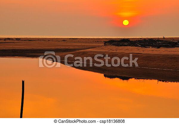 sunset at the beach - csp18136808