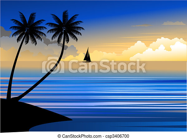 Sunset At The Beach Vector