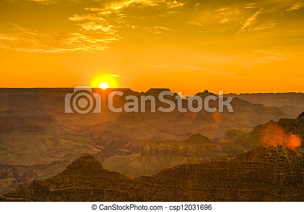 Sunset at the Grand Canyon seen from Desert View Point, South Rim - csp12031696