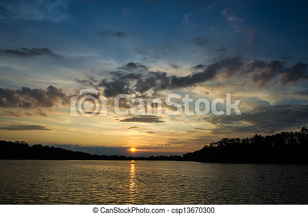 Sunset at the lake in summer - csp13670300