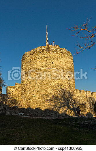 Sunset at Tower of the Byzantine fortress in Kavala, East Macedonia and Thrace - csp41300965