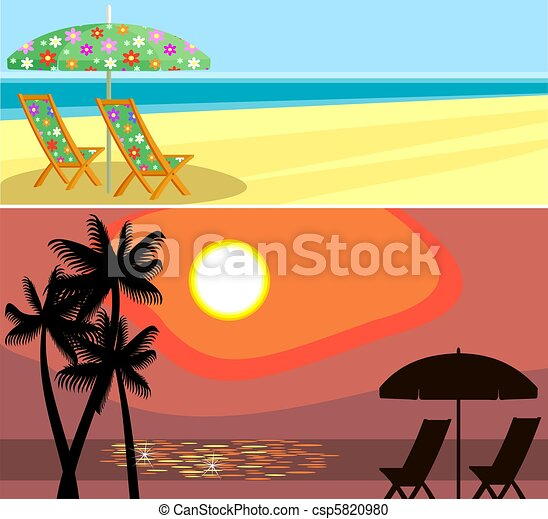 Sunset Beach Stock Illustration