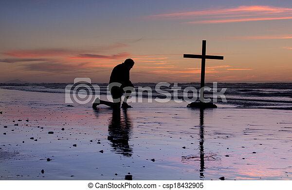 Sunset Beach Prayer Cross - csp18432905
